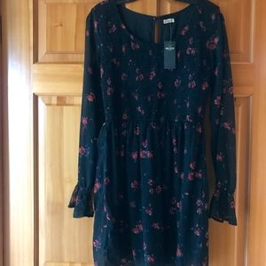 Hollister Smocked Bodice Chiffon DRESS NWT